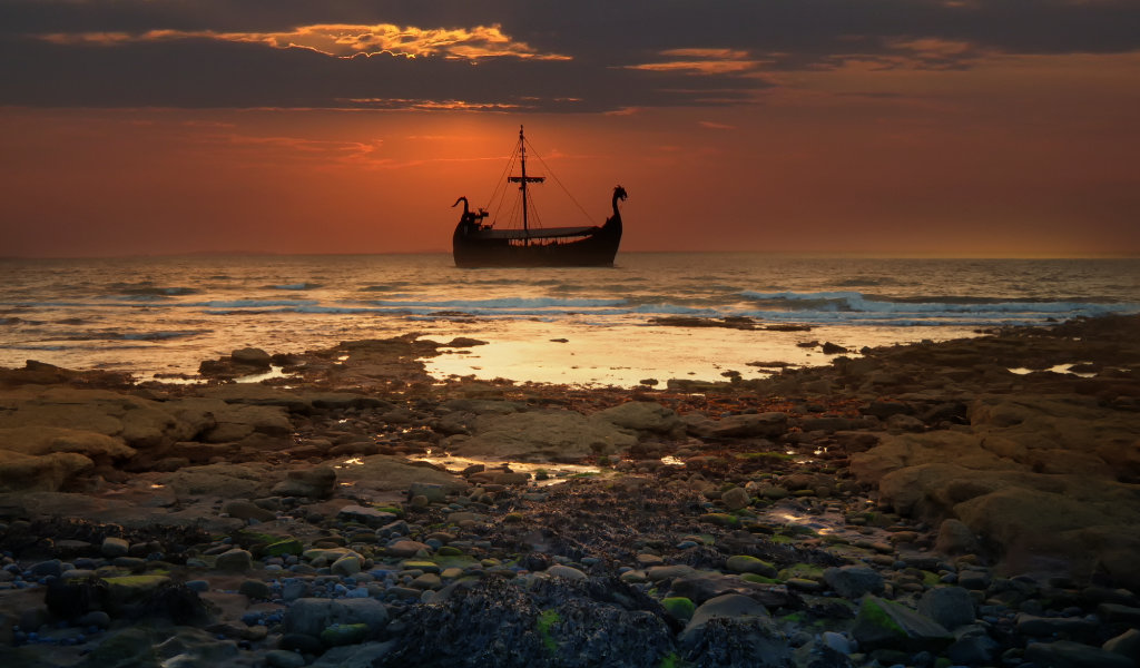 Burghead coast with Viking ship
